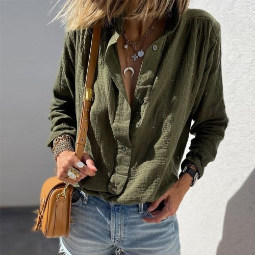 Spring Autumn New Women Cotton Loose Shirt Casual Long Sleeve Blouse Solid Fashion Turn-down Collar Button Office Lady Top Blusa