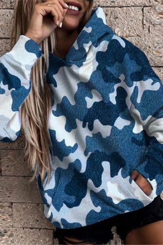 Fashion Streetwear Camouflage Print Hoodie Elegant Pocket Loose Hooded Sweatshirts Autumn Winter Casual Long Sleeve Pullover Top