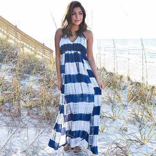 Sexy Long Dress Women Beach Style Maxi Print Dresses Side Split V-neck Summer Dress Vestidos
