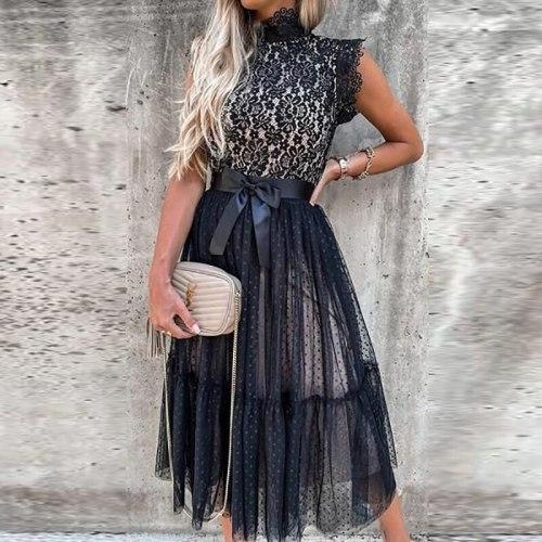 2021 Summer Women Turtleneck Lace Party Dress Sexy Sleeveless Dot Printing Zipper Ladies Dress Elegant Streetwear Dropshipping