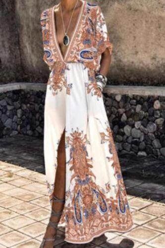 Women Dress Printed Split Hem Elegant Short Sleeve Deep V Neck dress women summer 2021 for Party Street wear Pink xxl vestidos