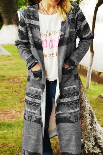 Autumn New Women Casual Cardigan Fashion Retro Pattern Printed Trench Coats Elegant Long Sleeve Harajuku Long Windbreaker Cloak