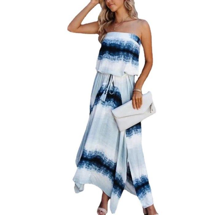 2021 Summer New Women's Tie-Dye Pattern Wrapped Dress Waist Adjustable Fringe Bandage