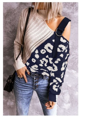 2021 Elegant Casual Spring Autumn Off-shoulder Woman Sweater Straps Turtleneck Leopard Spliced Pullover Sexy Sweater