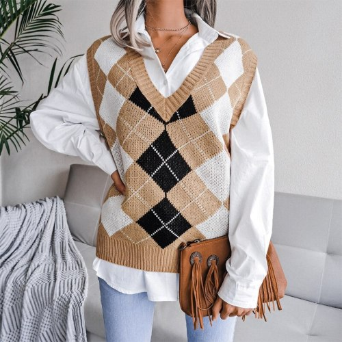 Autumn College Style Diamond Printed Tank Women Sweaters Casual V-Neck Loose Knit Vest Sweaters Fashion All-Match Pullover Tops