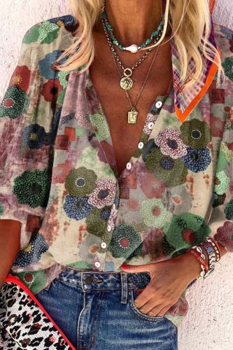 2021 Print Blouse Women Long Sleeve Blusa Spring New Chic Casual White Tops Office Lady Femme Vintage Blusa Mujer
