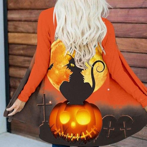 Halloween Pumpkin Print Trench Women Harajuku Cardigan Autumn Winter New Long Sleeve Top Outerwear Elegant Loose Streetwear Coat