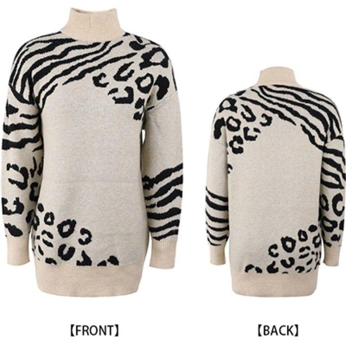 Women Fashion Turtleneck Sweater Autumn Winter New Warm Knit Jumper Tops Casual Long Sleeve Leopard Knitter Pullover Streetwear