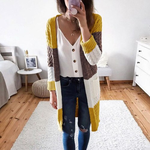 Autumn Winter Fashion Patchwork Knitted Sweaters Casual Long Sleeve Knitted Sweater Women Elegant Warm Pocket Long Cardigan Tops