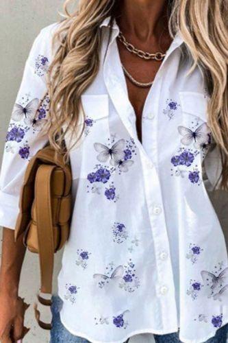 Spring Autumn Elegant Turn-Down Collar Blouse Women Floral Print Single Breasted Top Fashion Streetwear Long Sleeve Casual Shirt