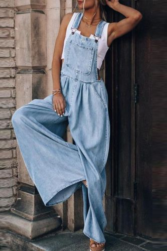 Casual Loose Solid Pocket Denim Women Jumpsuit Fashion Sleeveless Jean Romper Lady Streetwear Strappy Wide Leg Overalls Playsuit