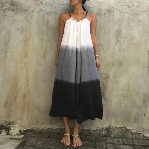 Summer 2021 Western Style Oversize Women's New Big Dress Gradient Tie Dye Loose Casual Simple Round Neck Sling Dress