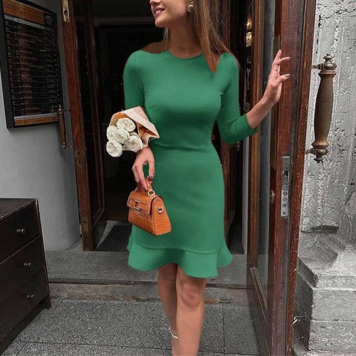 Women Elegant Ruffle Mini Dress Office Lady Simple Party Dress Spring Autumn New Fashion Long Sleeve Solid Short Dress Vestidos