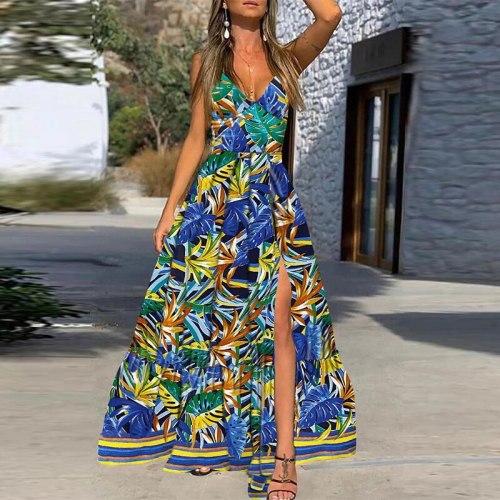 Sexy Deep V Neck Sleeveless Women Party Dress Elegant Off Shoulder Slit Long Dress Vintage Leaves Print Sling Maxi Dress Vestido