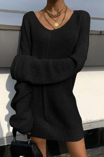 Women Solid Knitted Sweater Dress Fashion V-Neck Loose Elegant Mini Jumper Dress Autumn Winter New Long Sleeved Sweater Dresses