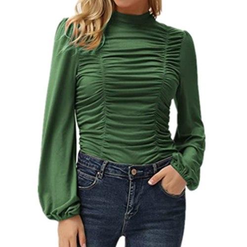 2021 Autumn Winter Casual Turtleneck Women Blouse Office Lady Lantern Sleeve Solid Pullover Shirt Elegant Draped Slim Top Blusa