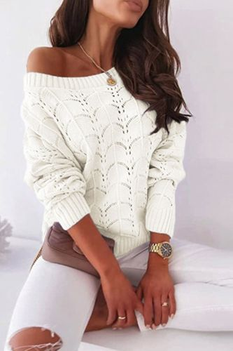 Fashion Batwing Sleeve Hollow Sweaters Women Sexy Off Shoulder Long Sleeve Pullover Jumper Casual Loose Solid Knitted Top  Bluas