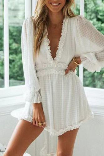 2021 Women Summer Chiffon Ruffle V Neck Playsuit Backless White Elegant Jumpsuit Romper Holiday Beach Casual Female Overalls