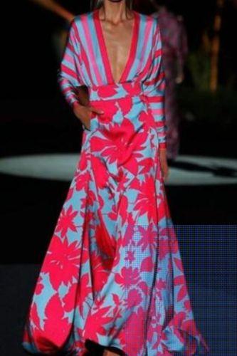 Women Dress Lantern Sleeve V-neck Striped Printing Red Dresses Long Sleeve Plus Size Long Printing Dresses Women 2021 New