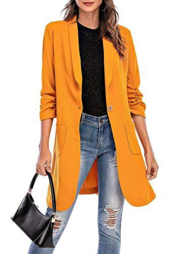 Women's Blazer 2021 Solid Color Office Casual Jacket Long Sleeve Button Pocket Fashion Elegant Women Blazer