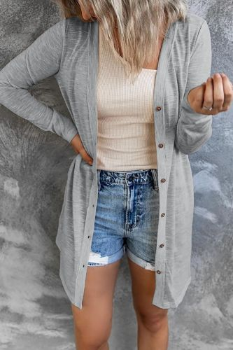 Women Casual  Fashion Cardigan Single-breasted Cardigan Women Solid Color Round Neck Long Cardigan Coat for Going Out