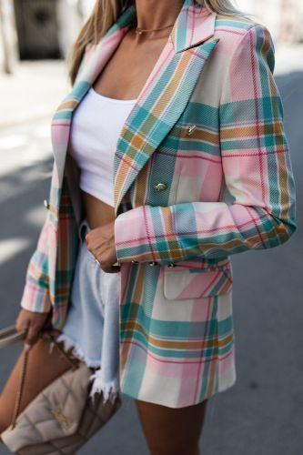 Plaid Blazer 2021 Women Spring-Autumn Vintage Tweed Suits Jackets Office Ladies Chic Slim Blazers Girls