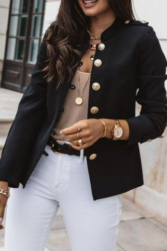2021 Long Sleeve Slim Breasted Blazer Jacket Cardigan Overcoat College
