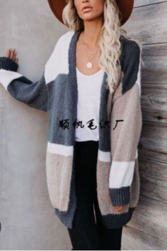 2021 New Fashion Splicing Color Large Size Knit Cardigan Loose Casual Women's Sweater Jacket Autumn and Winter Pull Femme