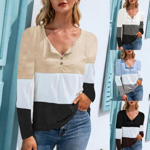 Women's top T-shirt stitching contrast color blusas pullover V-neck striped tops Autumn work casual T-shirt tops women 2021