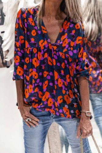Women's Shirts Summer Boho Flowers Printed Loose Long Sleeve V-neck Blouse Tops 2020 chic Vintage Fashion Female Shirts