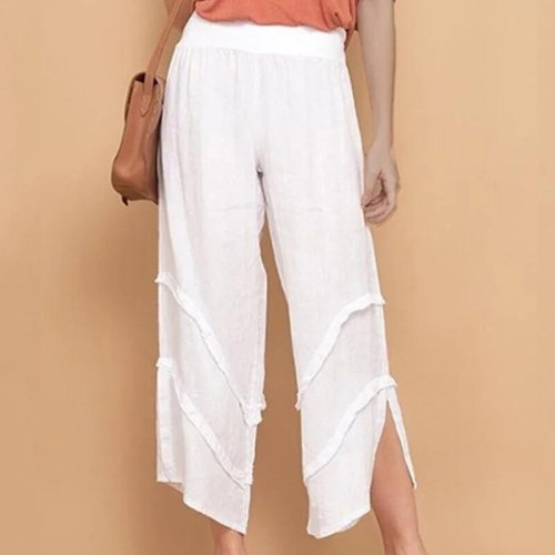 Summer High Waist Solid Color Pants  Fashion Loose Casual Pants Ruffled Thin Pocket Trousers Women's clothing S-2X