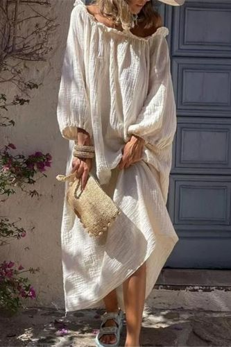 Autumn Casual Loose Solid Color Long Dress Slash Neck Women Long Lantern Sleeve Maxi Dress 2021 New Ladies Holiday Vestidos