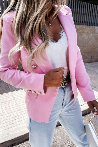 Women Jacket Pink Suit Long Sleeve Fashion Casual Lady Solid Color Button Autumn 2021 Office Wear Elegant Suit Female Suit Coat