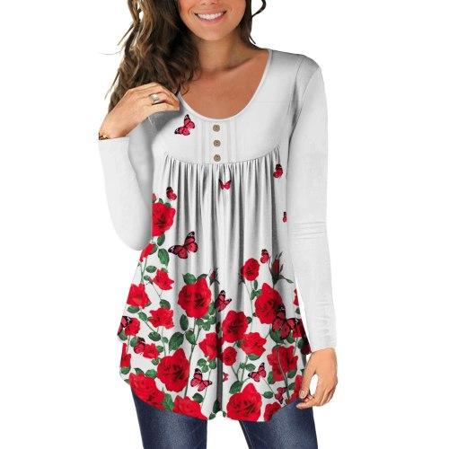 Women Autumn 5XL Large Size Women's T-shirt Round Neck Long Sleeve Button Decor Casual Floral Butterfly Print Plus Size T Shirt