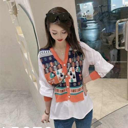 Sweater Women Autumn Knitted Fashion Cardigan Blouse Patchwork Fake Two Pieces Loose Single Breasted Knitwear Sueter De Mujer