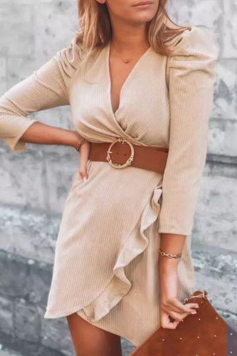 New Autumn Fashion Elegant Women Office Dress Sexy Wrap V Neck Ruffle Slit Party Dress Lady Long Sleeve Ribbed Knitted Dress