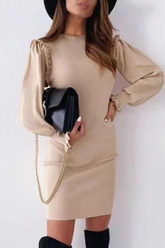 New Autumn/Winter Women Round Neck Casual Solid Vintage Butterfly Long Sleeve Short Dress Sexy Fashion 2021 Party Elegant Dress