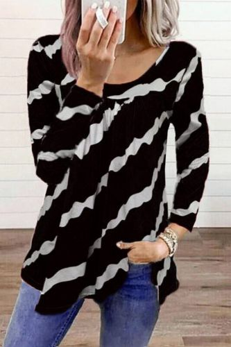 Fall 2021 Women New Fashion Striped Long-sleeved Casual Oversized Top