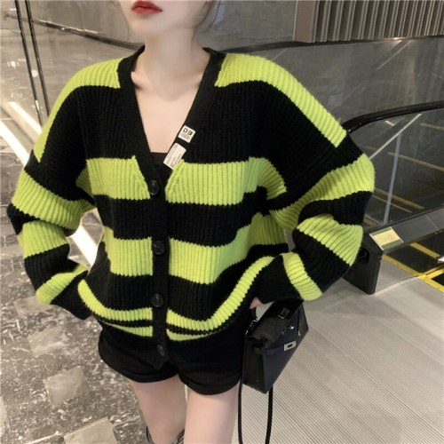 2021 New Autumn Women Fashion V-Neck Color Matching Striped Knitted Sweater Female Chic Loose Casual Cardigans Tops Streetwear