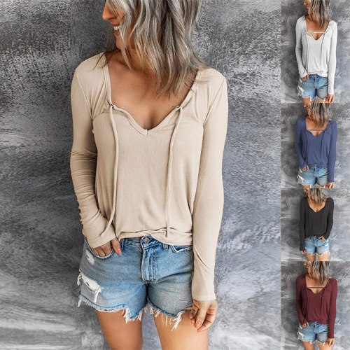 Women's Clothing Autumn and Winter New Fashion Women's V-neck Solid Long-sleeved Casual Loose T-shirt  women sexy tops