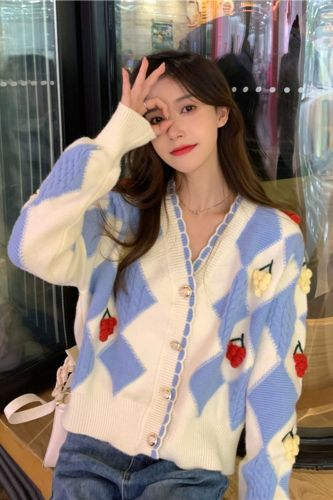 Women Knitted Sweater Autumn Chic Laciness V-Neck Long Sleeves Sweet Argyle Patchwork Cardigan Button Office Daily Casual Coat