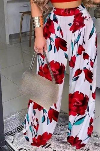 2021 Autumn New Fashion Loose Trousers Women Casual Streetwear Slacks Female Elastic Waist Floral Print Plus Size Wide Leg Pants