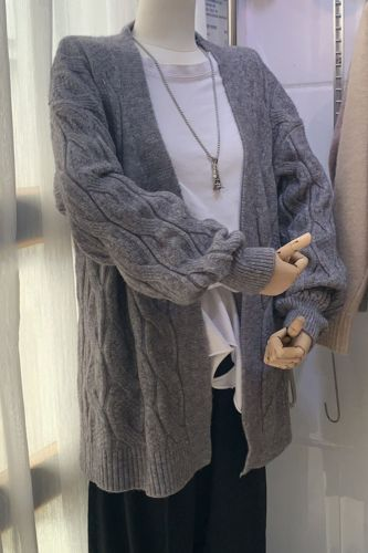 Winter Thickness Elegant Regular Cardigan Women Full Sleeve Sweater Office Loose Ins Style Women Clothes Coats QT240