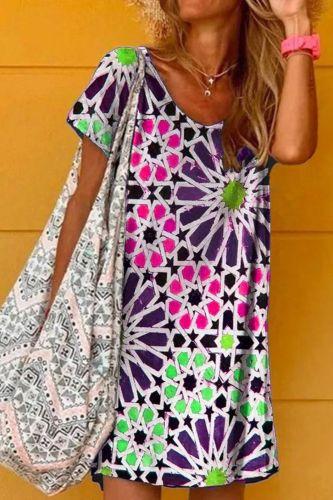 2021 Women's New Print Plaid Flower Short Sleeve Casual Fashion Dress Woman Plus Size Dresses Beach Tunics