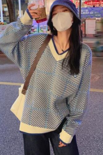 College style purple V-neck soft waxy sweater women's autumn 2021 new loose lazy chic knitted sweater for women
