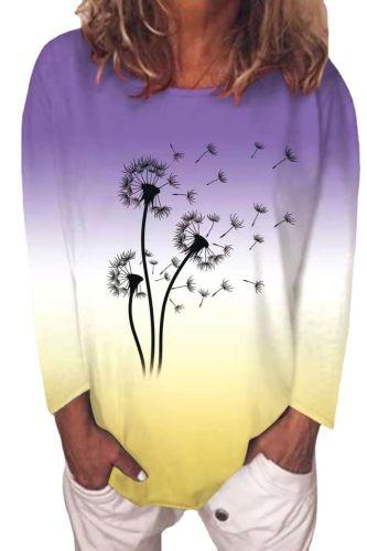 Gradient Flower Print Dandelion T Shirts Women Long Sleeve Casual Tops Fashion Street Ladies Kwaii Tee Shirt Autumn Clothes 2021