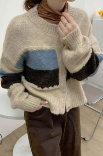 2021 Autumn Winter Knitted Cardigan Hit Color Causal Short Sweater Korean Long Sleeve O-neck Knitwear Coat 6Z102