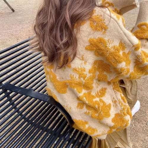 Vintage Sweaters O-Neck Full Sleeve Japanese Lazy Wind Knitted Pullovers Women Autumn Elegant Yellow Knitwear Female LD2320