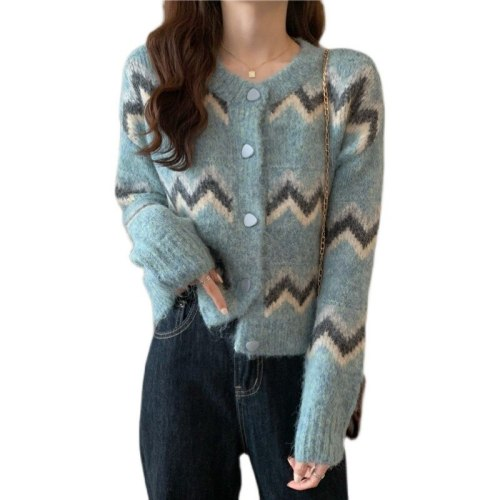 Knitted Cardigan Sweater Women  Autumn 2021 New Short Striped Loose Long-Sleeved Round Neck Retro Contrast Jacket T184