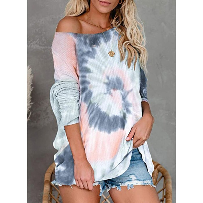 Sexy Slash Neck Tie Dye Printed Asymmetrical Knitted Sweater Tops Casual Loose Pullover Tops Oversized S-3XL WDC6034